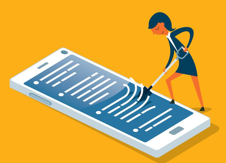 Illustration of a woman cleaning a mobile phone with a shovel, scrubbing and removing data