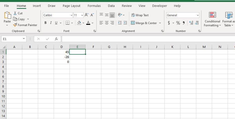 Cell E1 selected in Excel