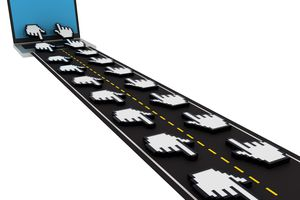 Image showing mouse pointer on a highway to indicate speed