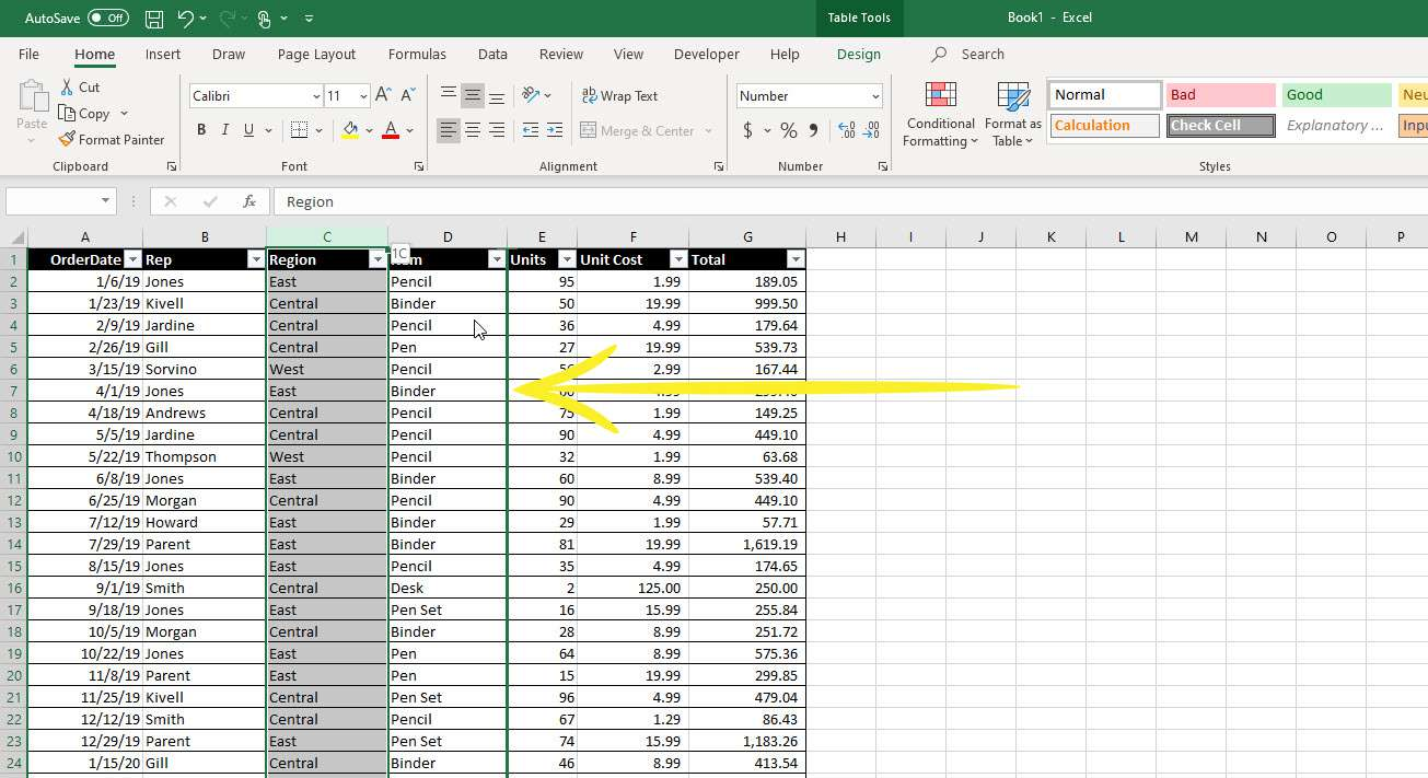 The darkened border that displays when moving a column in Excel.