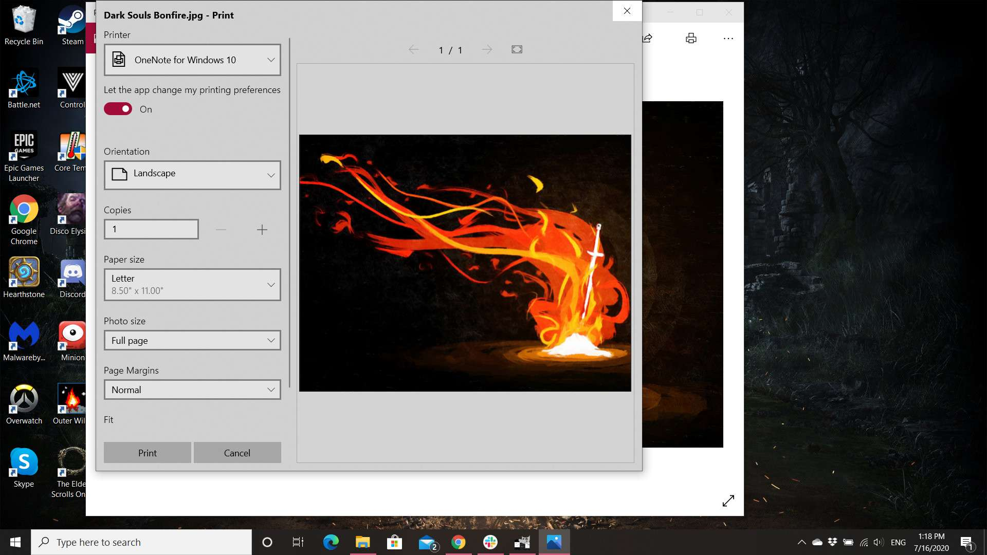 You can change paper size, orientation, and more in the Photos app for Windows