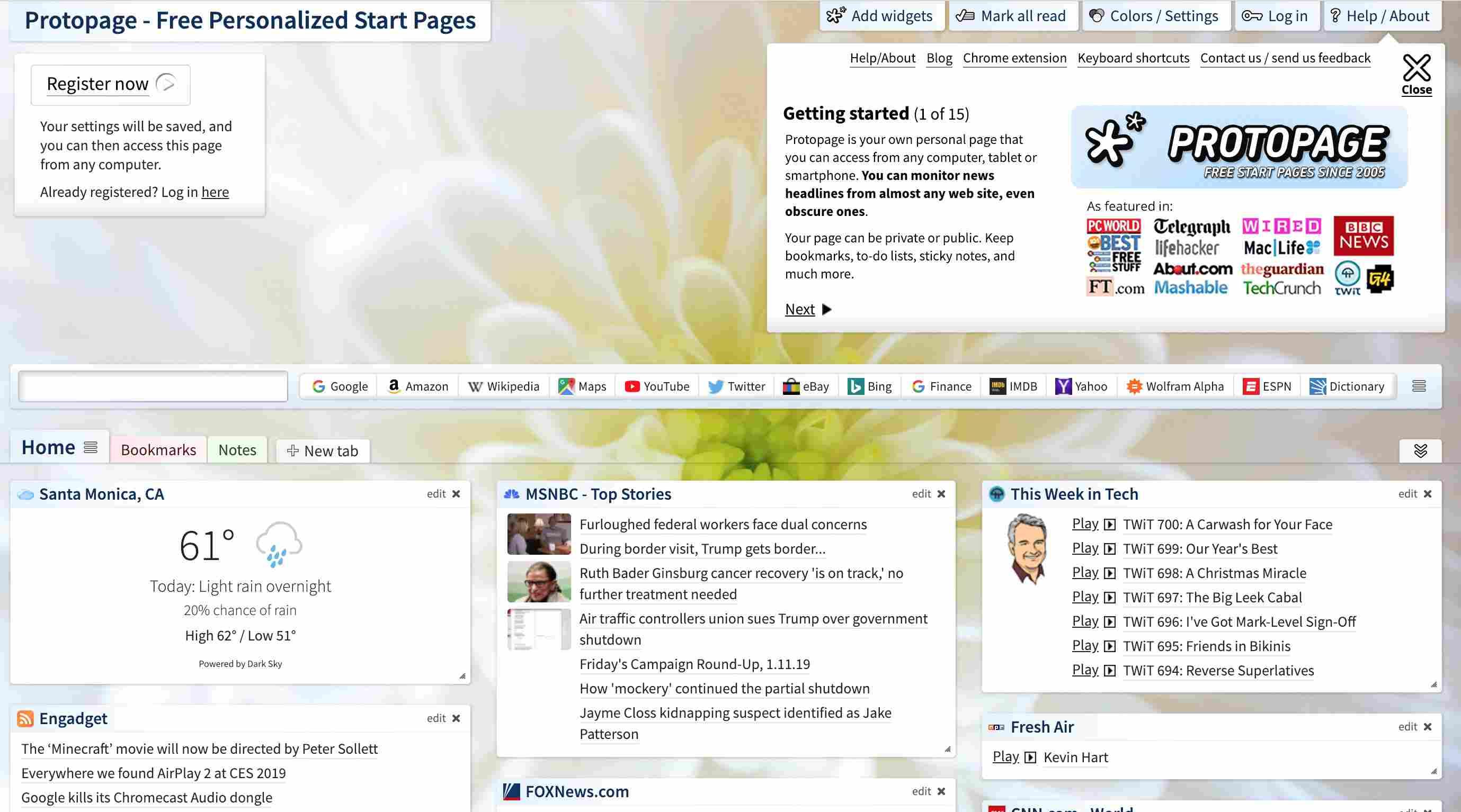 Protopage website