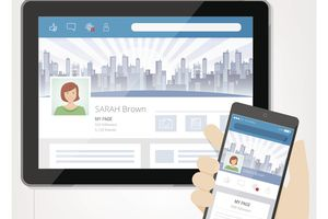 Illustration of an tablet and phone with facebook social media of SARAH Brown on the screens