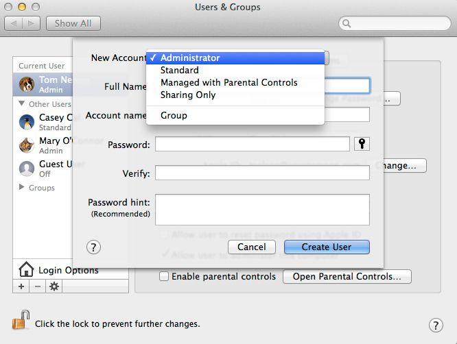 Administrator account creation in OS X