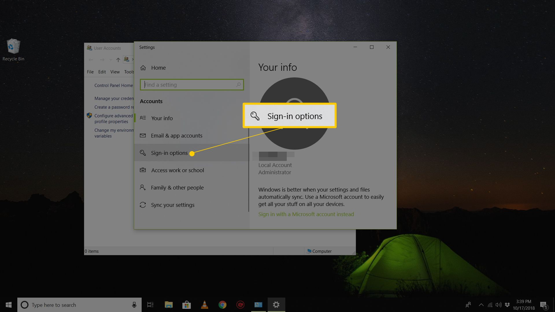 Sign-in options in Settings app