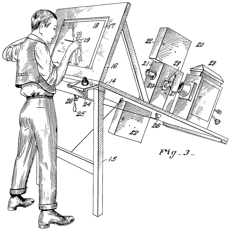 Patent drawing for Fleischer's original rotoscope. The artist is drawing on a transparent easel, onto which the movie projector at the right is beaming an image of a single movie frame.
