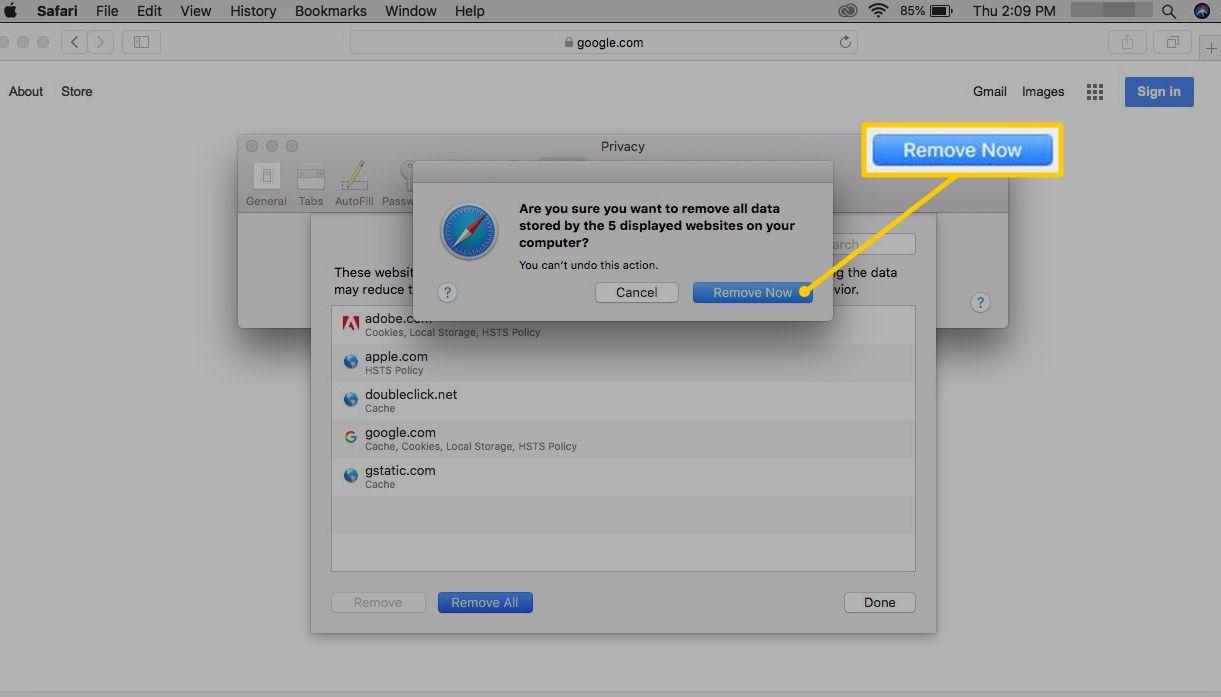 Remove Now confirmation button in Safari