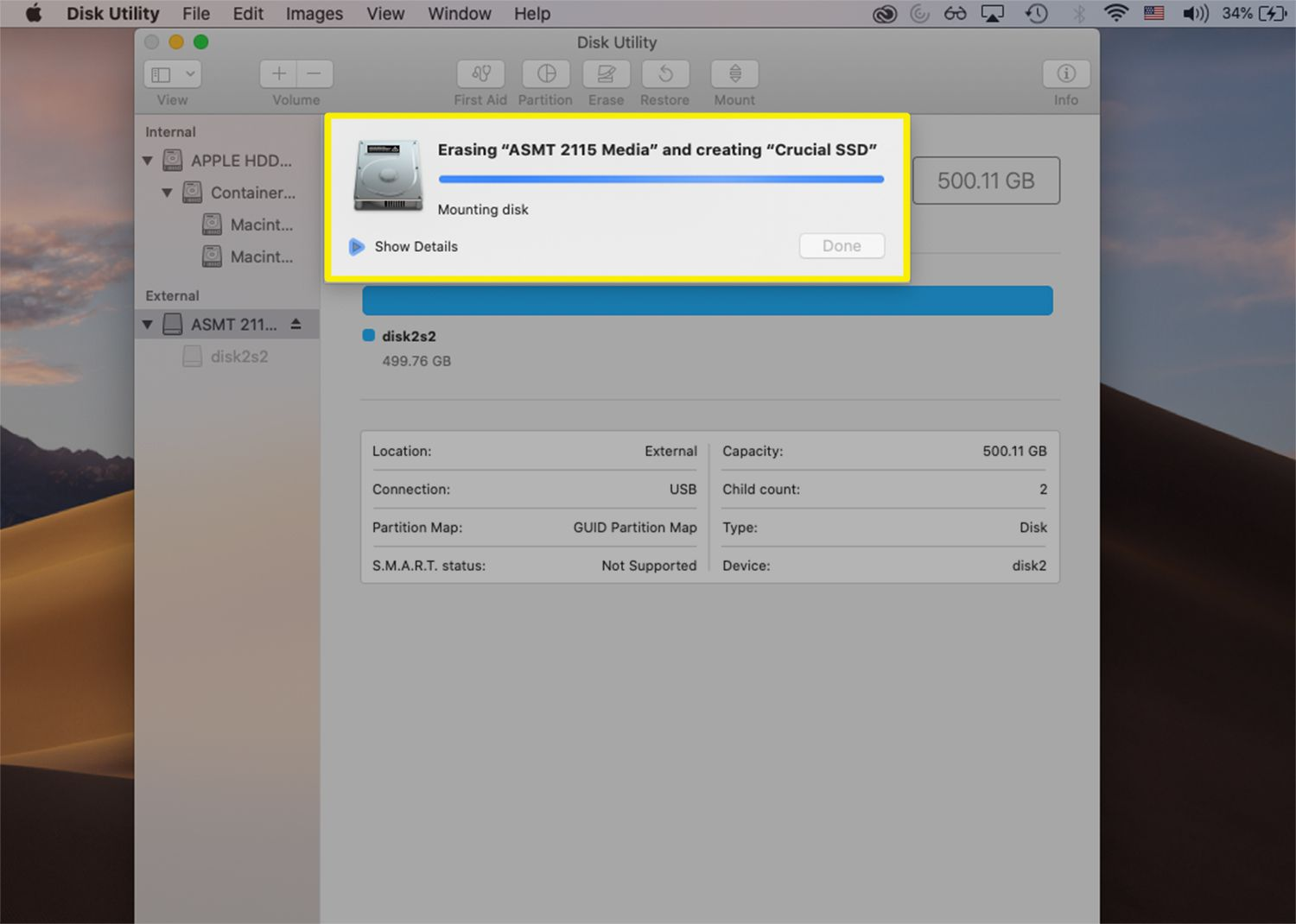 Disk Utility on macOS erasing and formatting an external drive