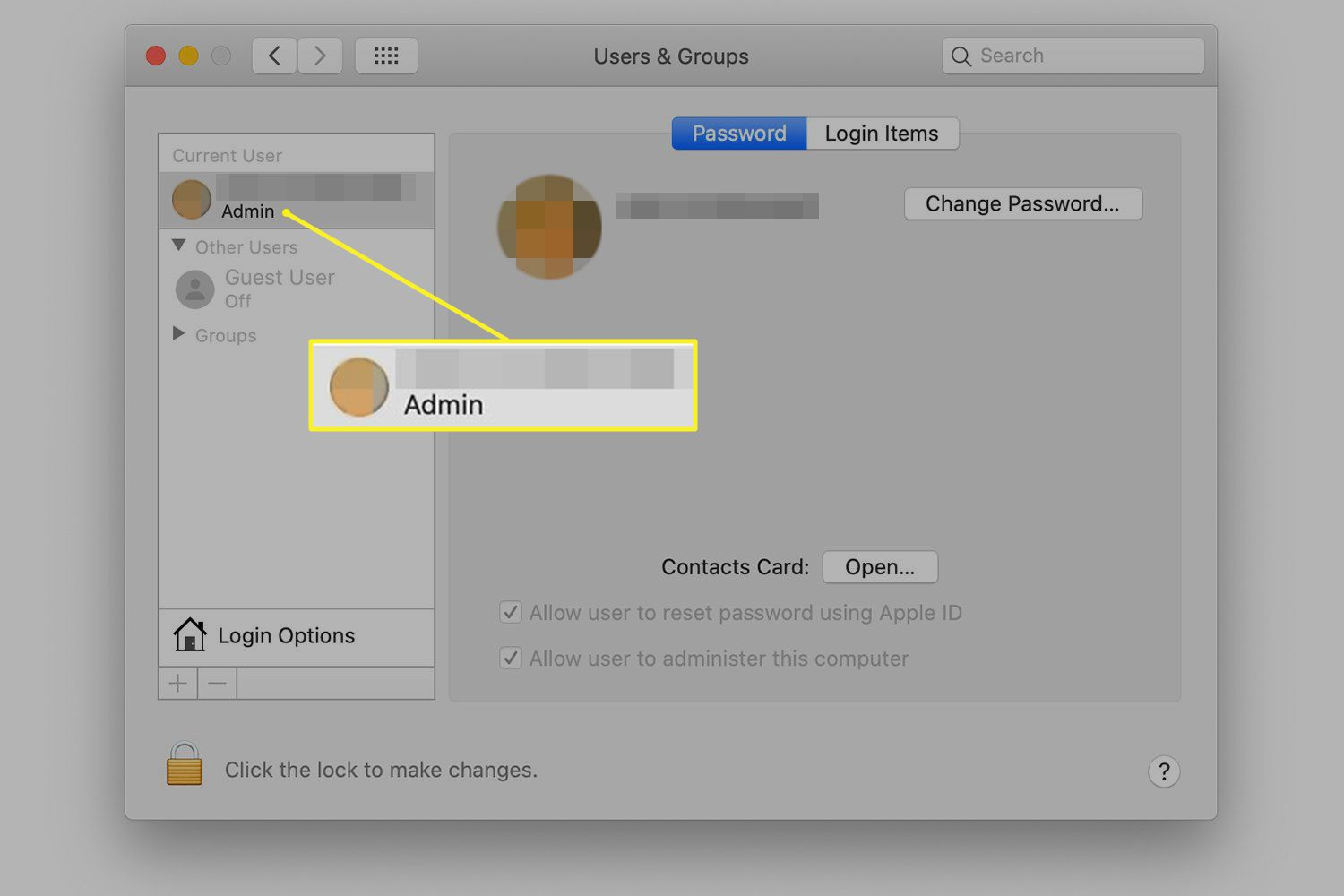 Users & Groups preferences with account selected