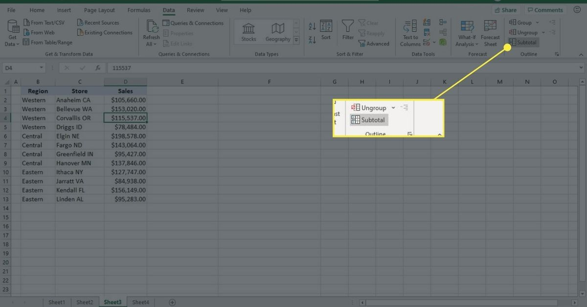 Use the Subtotal command to create subtotals and grand totals for grouped data in Excel