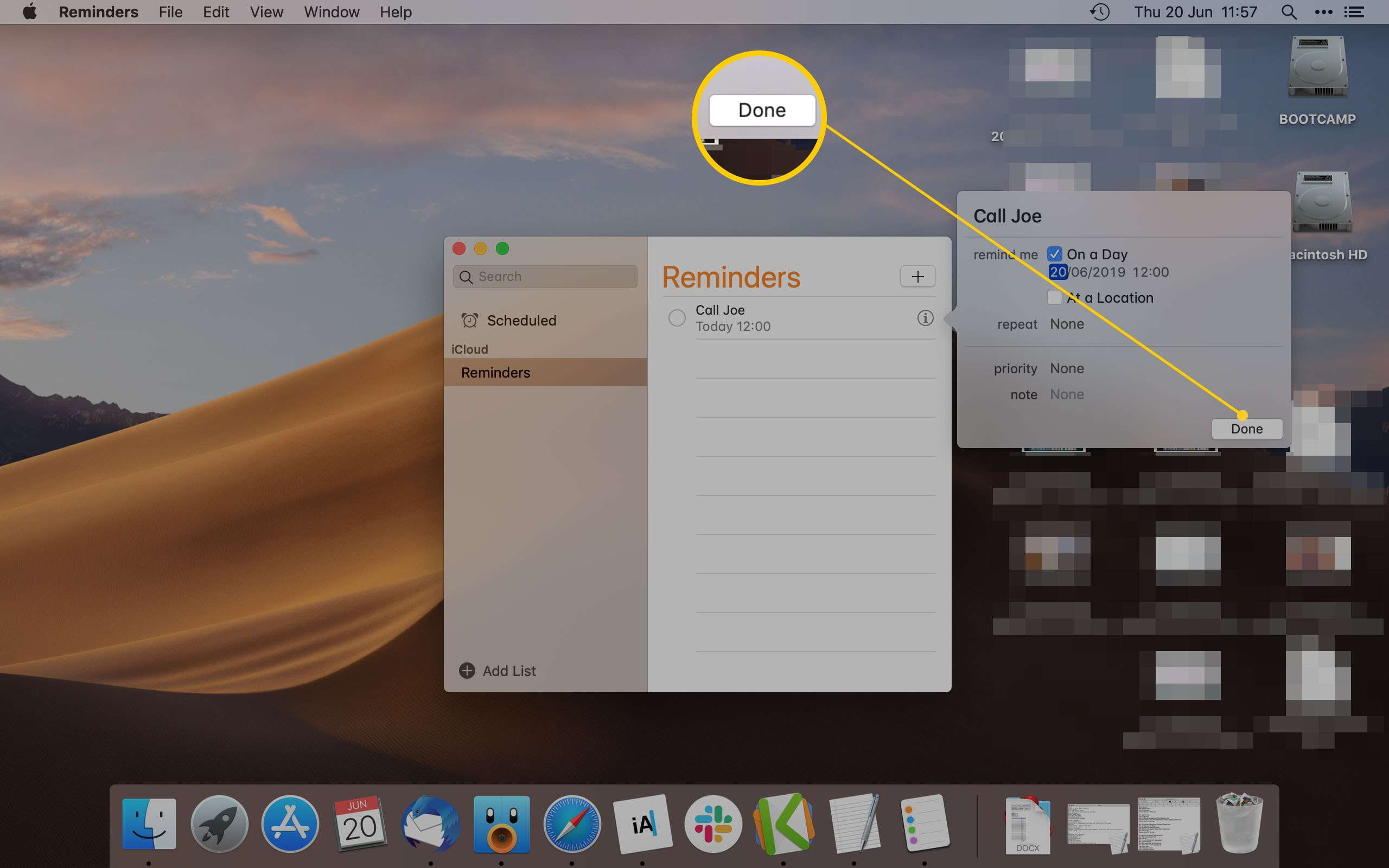 Mac Reminder App Highlighting the Done button