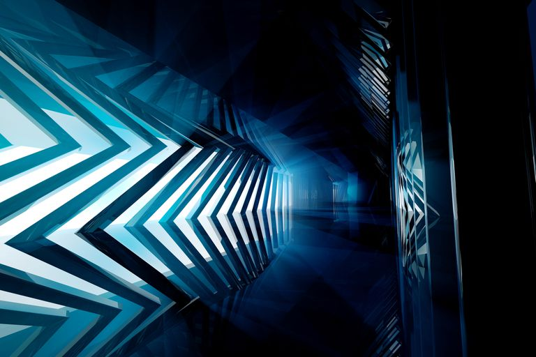Empty futuristic blue room with hard lines and angles