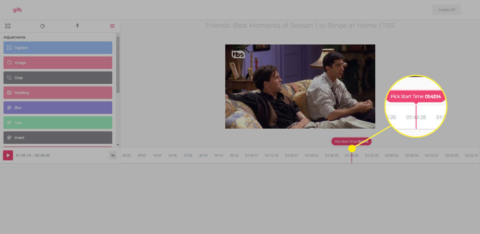 Picking the start time when making a GIF from a YouTube video with gif.com.