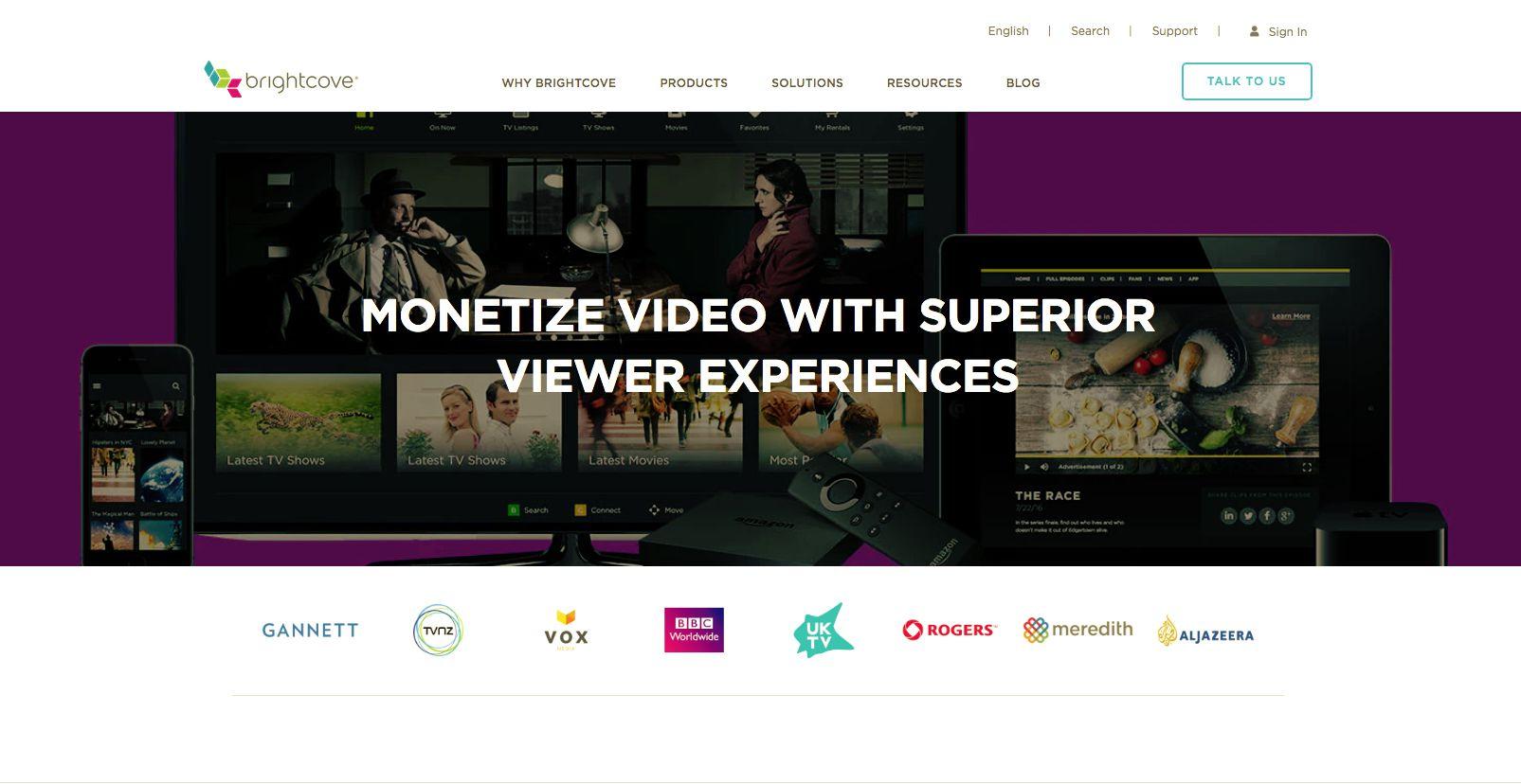 Brightcove home page