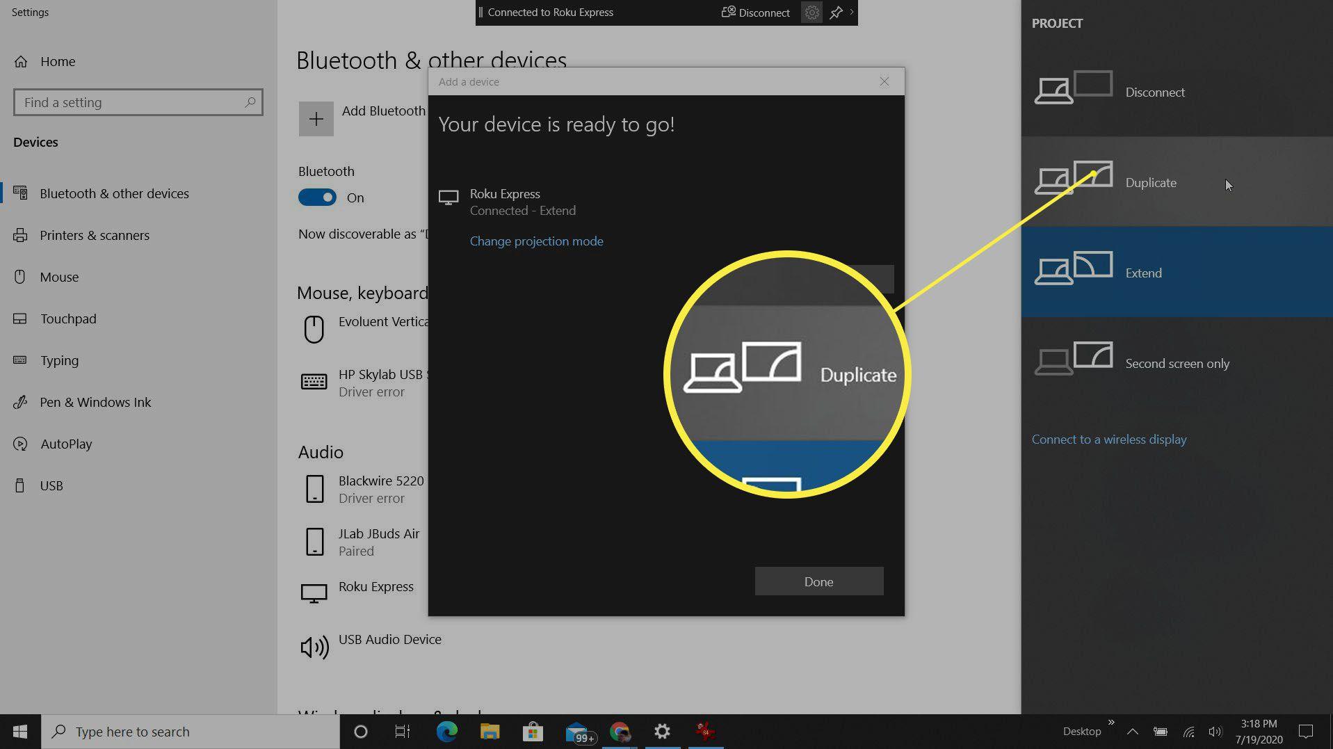 Screenshot of change project mode for Roku on Windows 10.