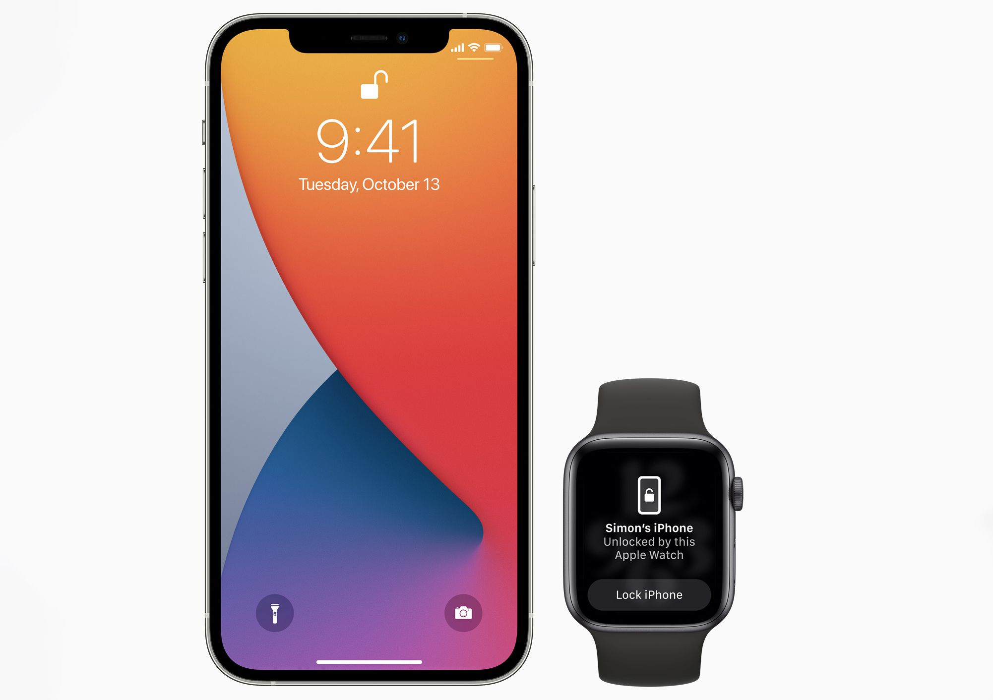 An iPhone and an Apple Watch demonstrating the unlock with watch feature used to unlock an iPhone while wearing a mask.