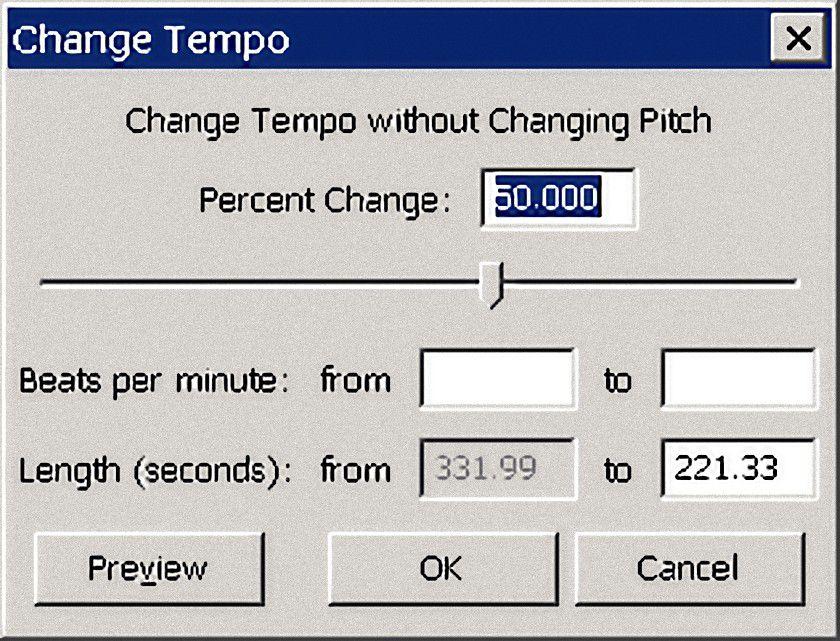 Audacity Change Tempo Option