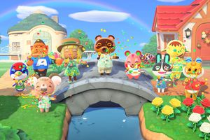 Villagers gathered on a bridge in Animal Crossing: New Horizons