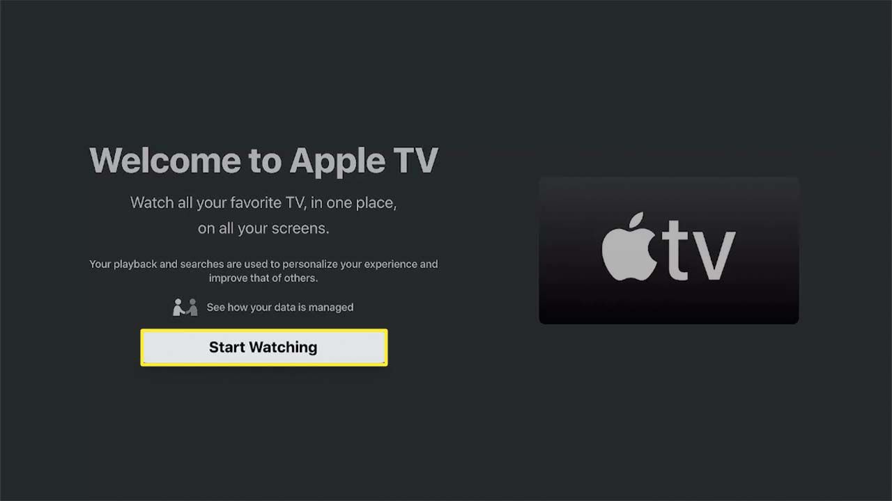 Start Watching highlighted in Apple TV on Fire TV.