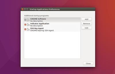 Ubuntu startup applications modal screenshot