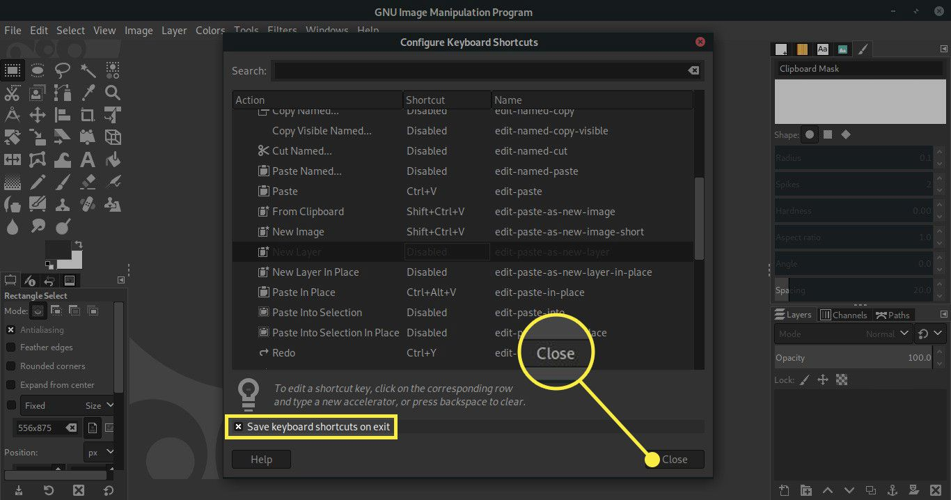 A screenshot of GIMP's