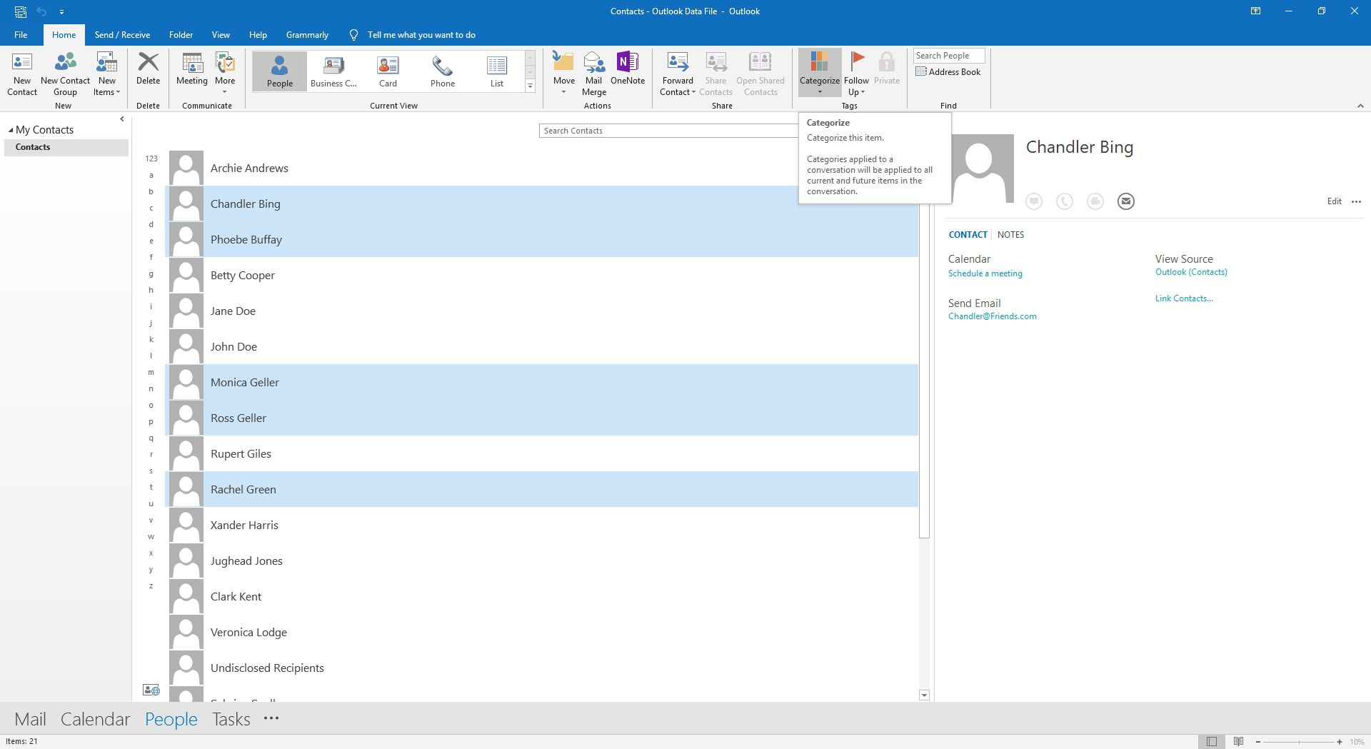 Selecting categories in Outlook contacts