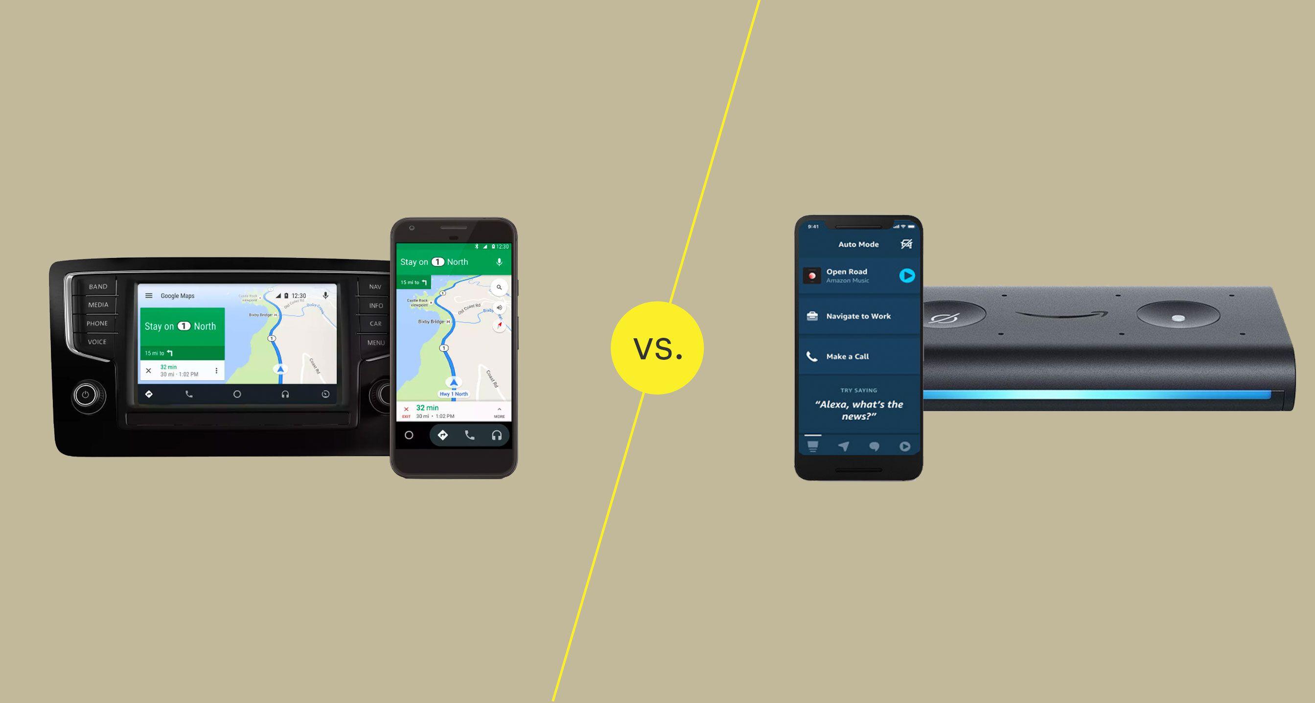 Android Auto and Alexa Auto mode interfaces