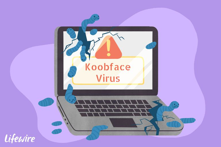 A conceptual illustration of the Koobface virus destroying a laptop computer.