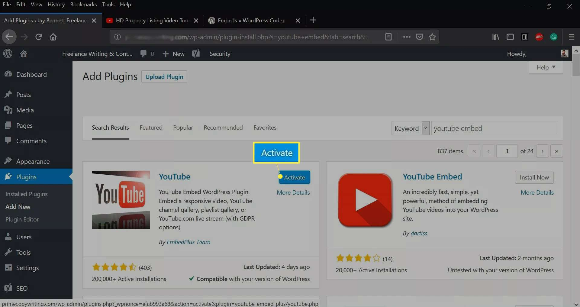 Activate on the WordPress dashboard