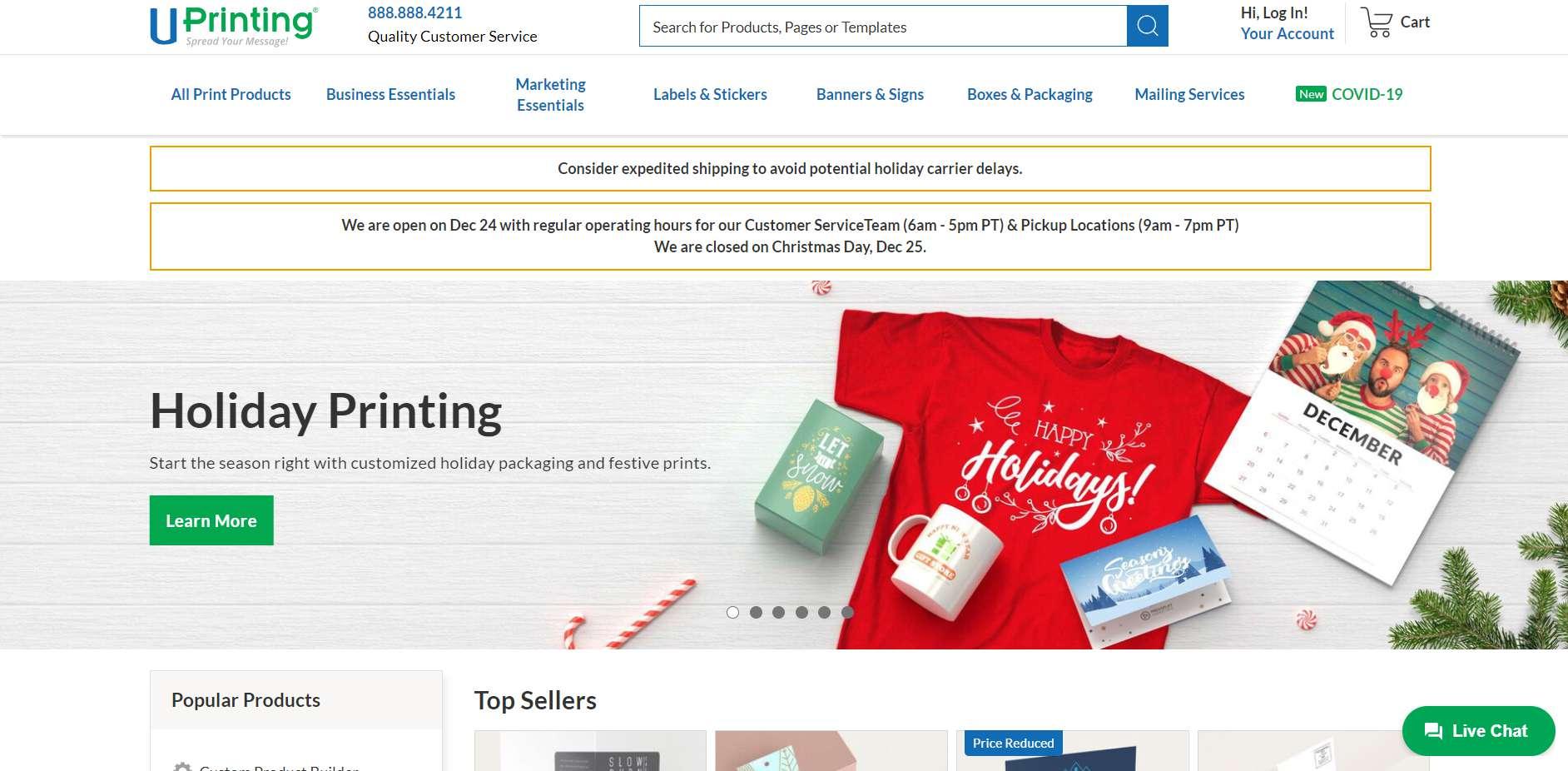 The UPrinting homepage