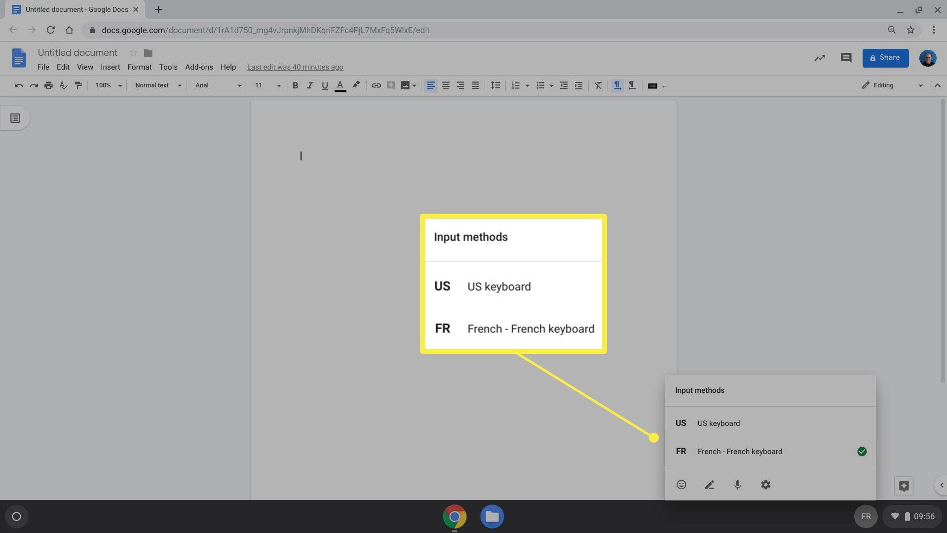 Chrome OS input methods options