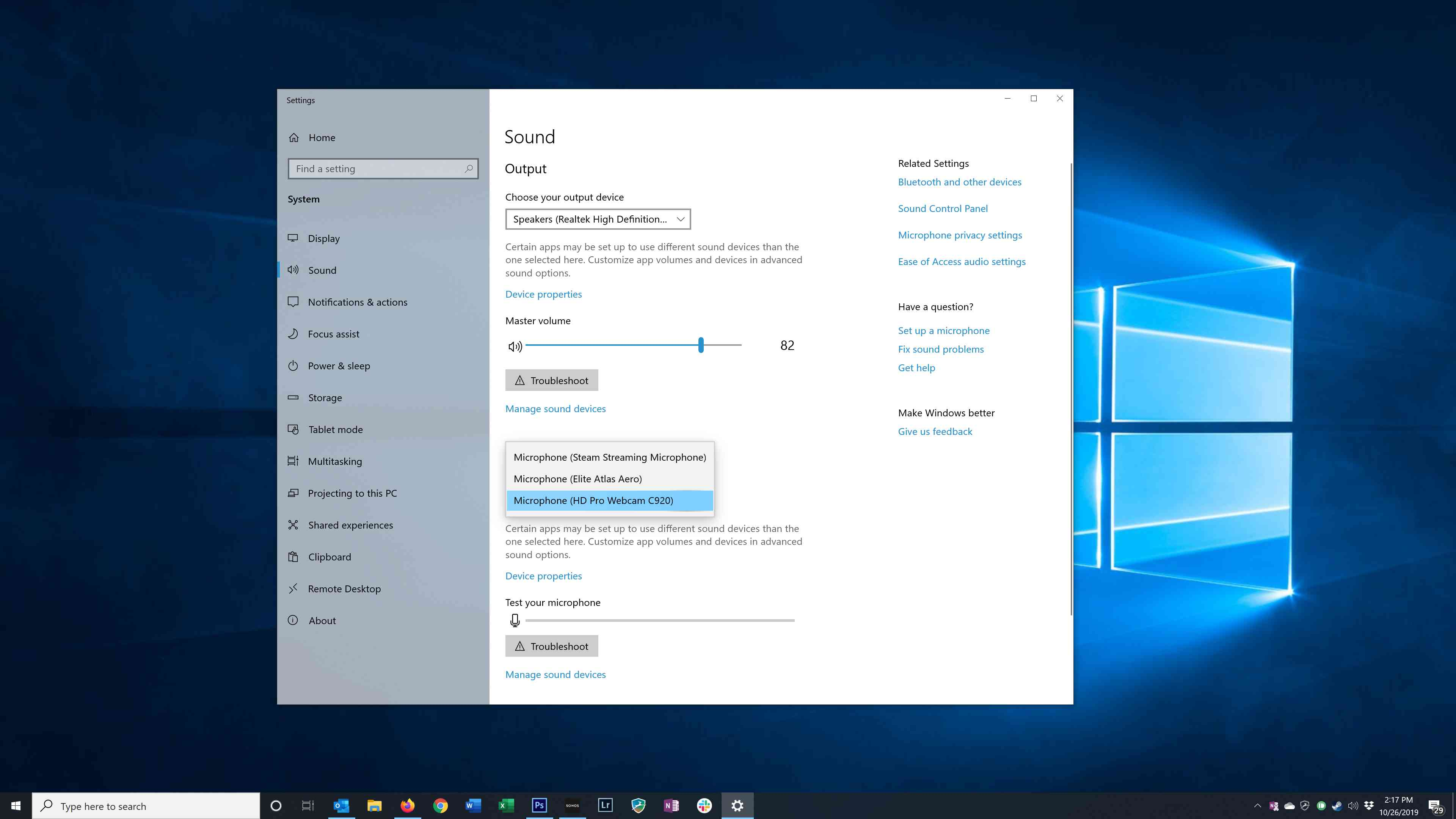 Selecting a microphone in Windows Settings