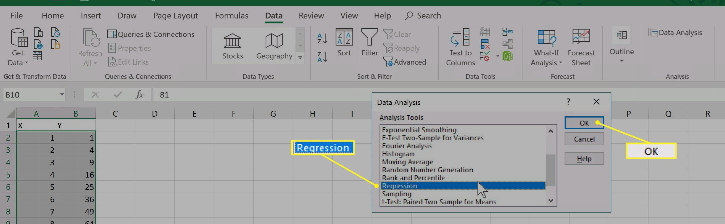 Data Analysis > Regression selection in Excel