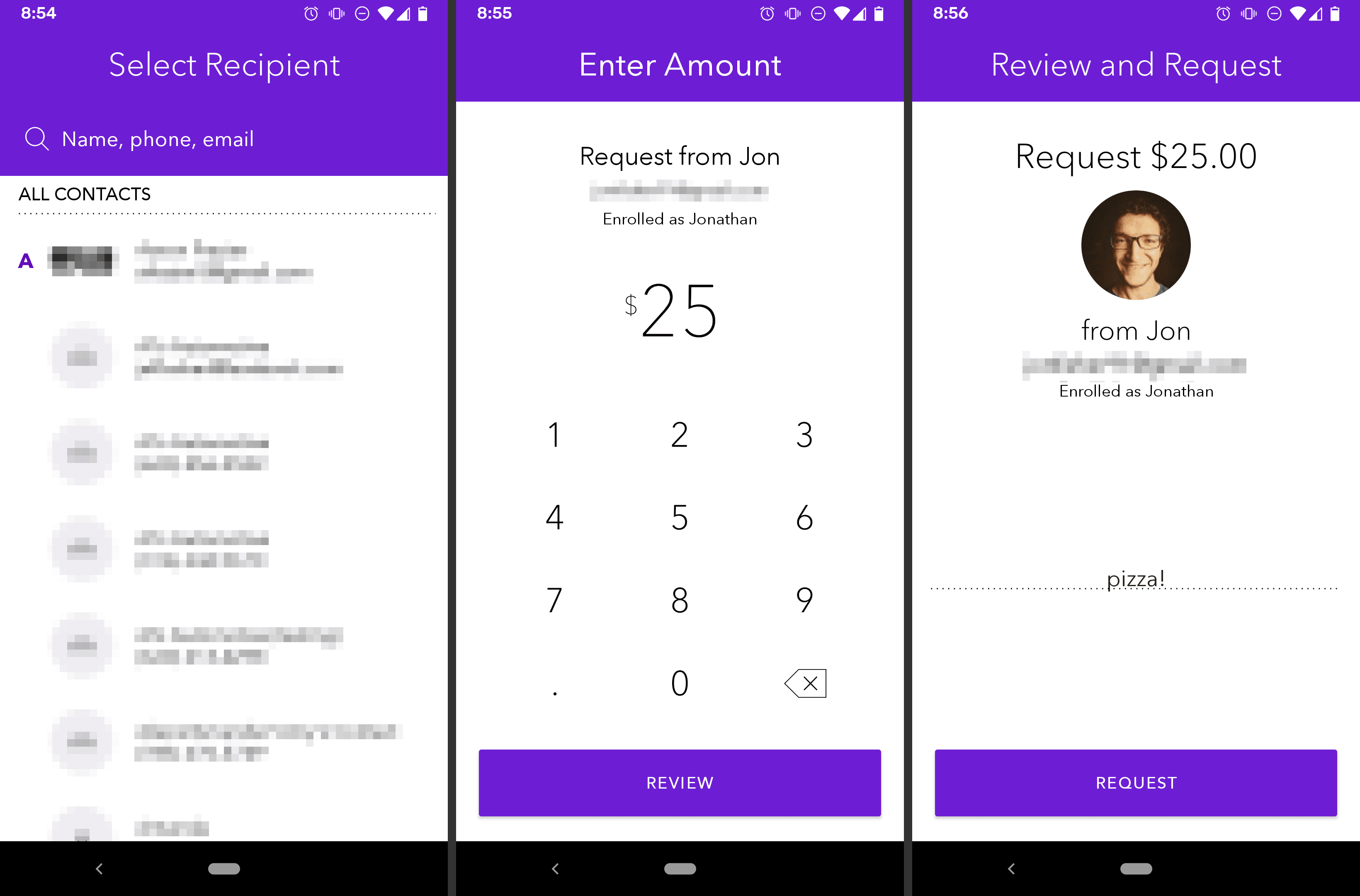Zelle Android app requesting money from another user