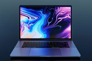 Photography depicity MacBook Pro 2018, frontal view, dark background