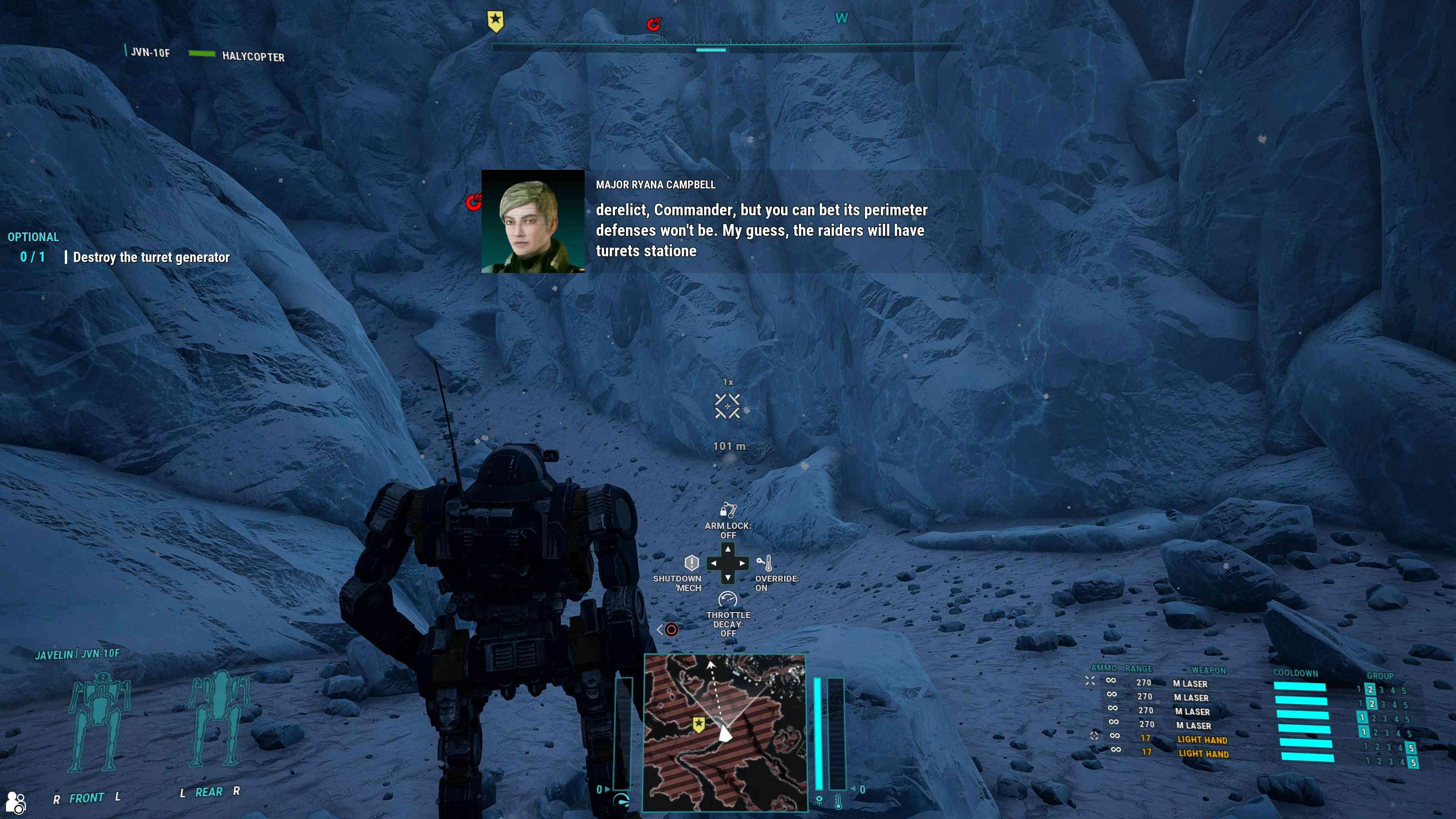A screenshot from 'MechWarrior 5: Mercenaries.'