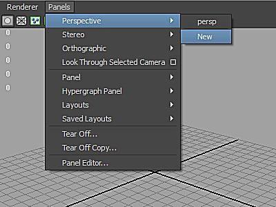 Maya's Panels menu