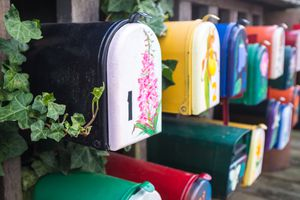 Colorful painted mailboxes