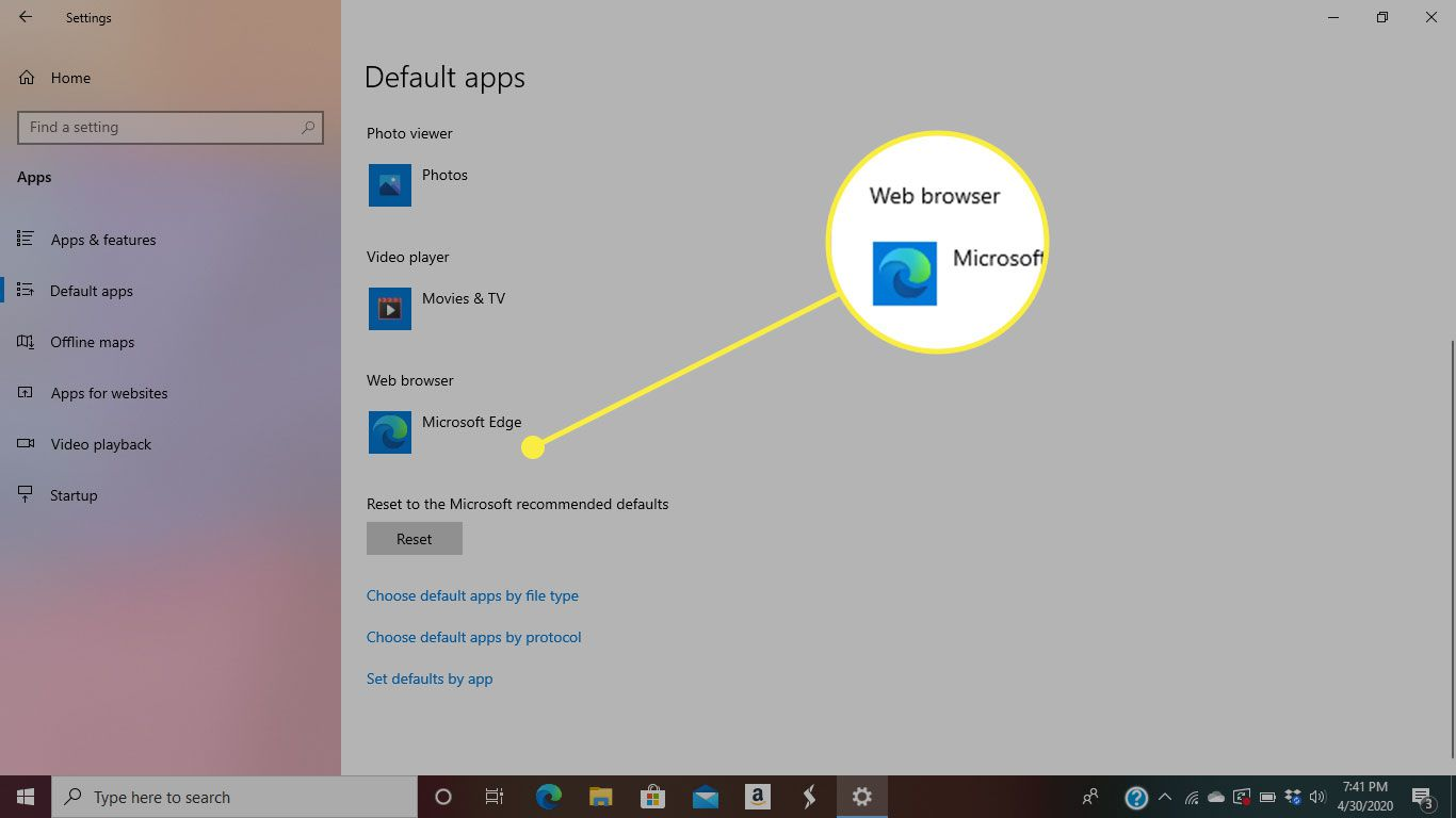 Default Apps in Windows 10 with the Web Browser heading highlighted