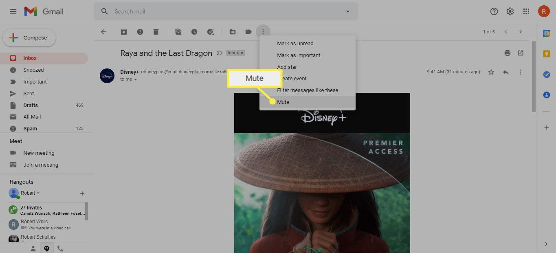 Mute under the More (...) menu in Gmail