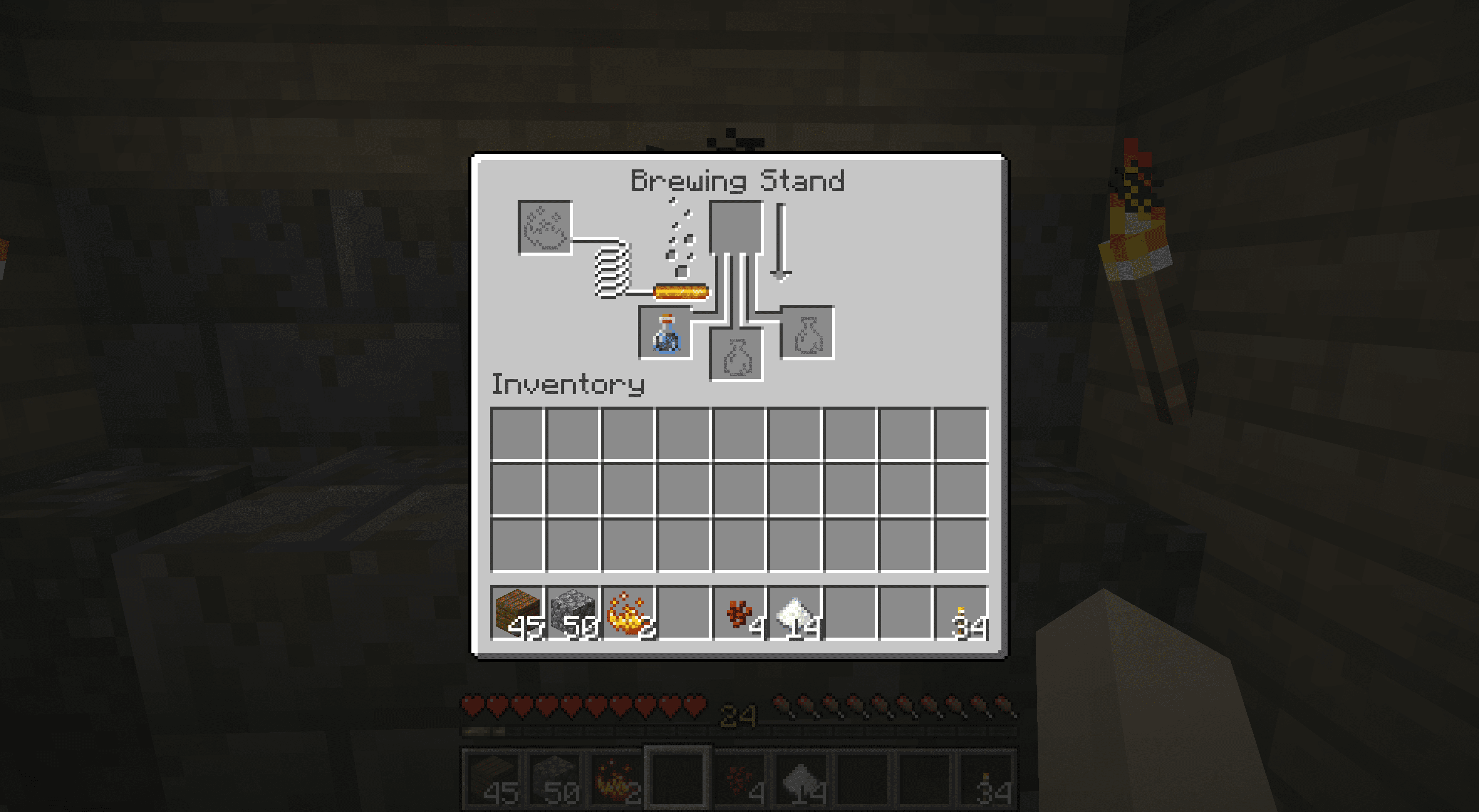 A water bottle in the brewing interface on Minecraft.