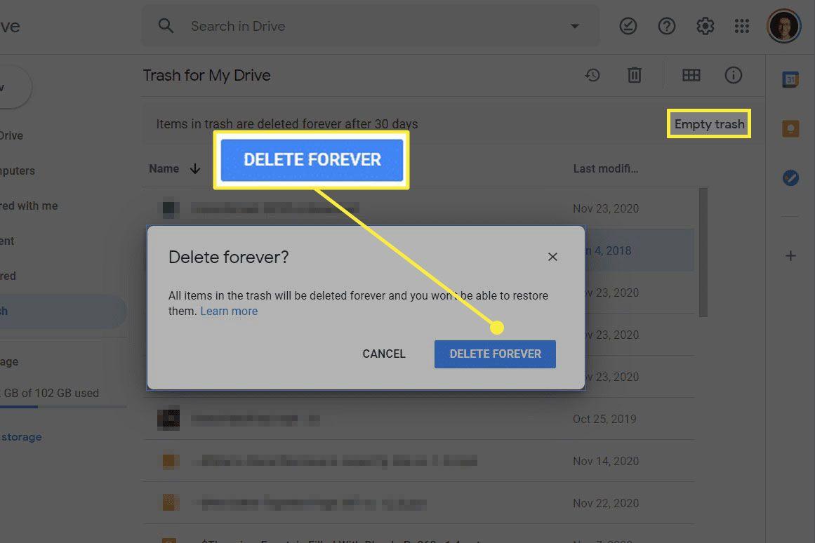 Empty trash option in Google Drive.