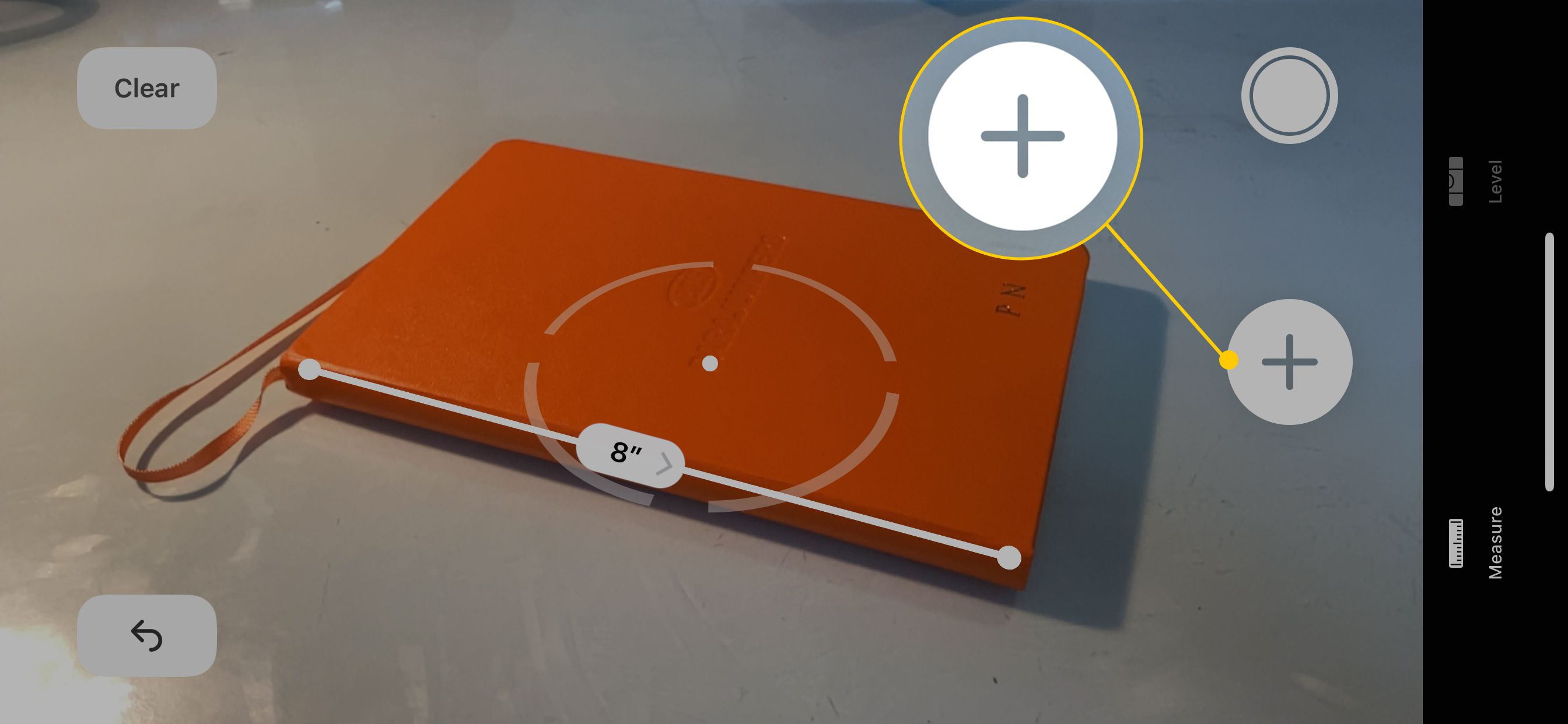 Plus button in the Measure App