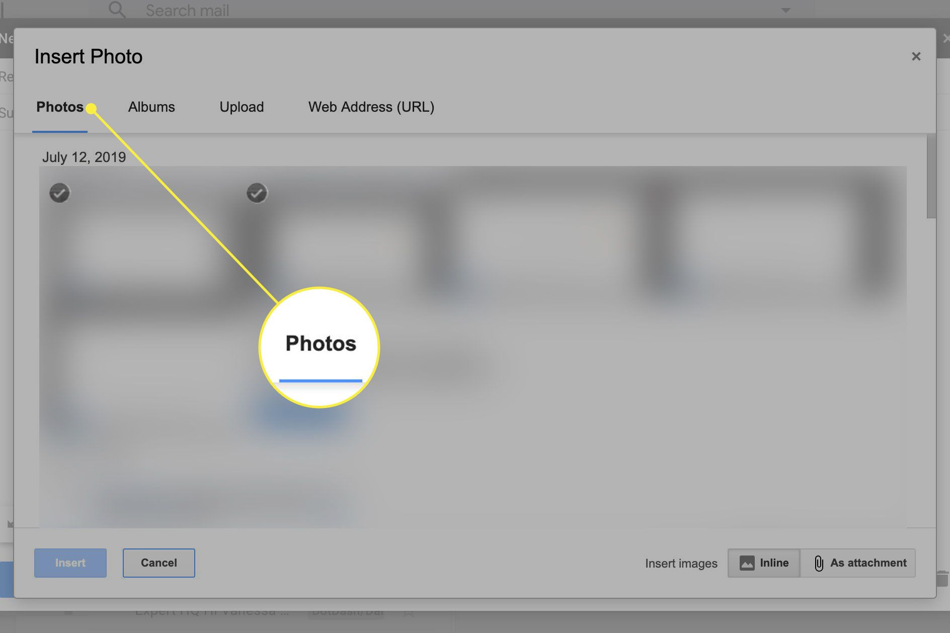 A screenshot of the Insert Photo screen in Gmail with the Photos tab highlighted