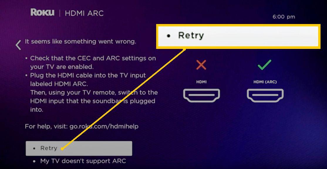 Roku Soundbar Setup – HDMI Retry
