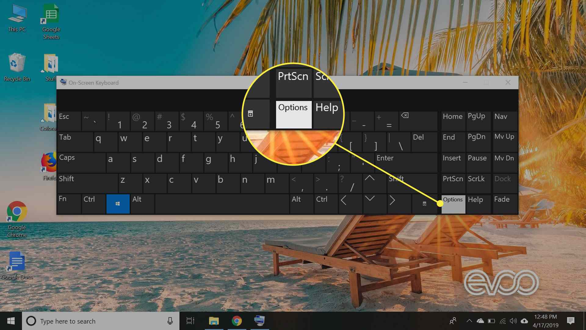 A screenshot of Windows 10's on-screen keyboard with the Options key highlighted