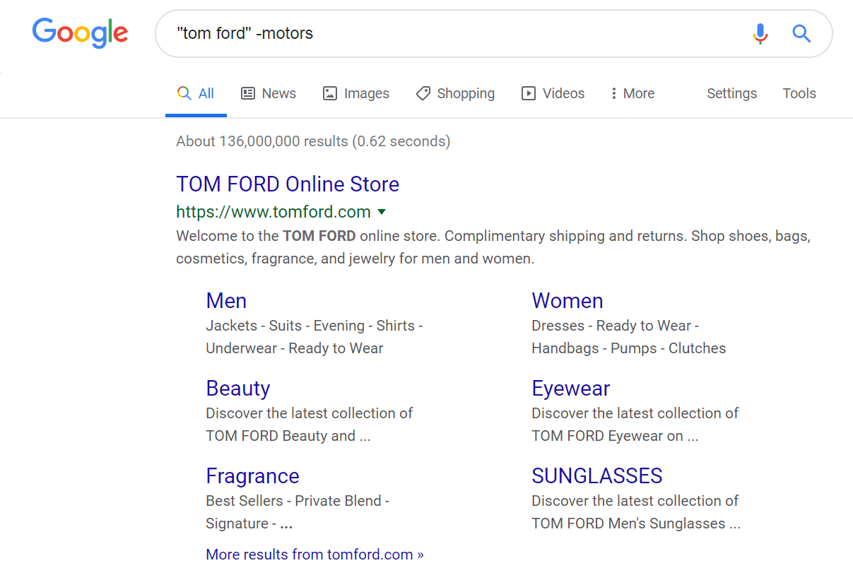 Google Search results for Tom Ford