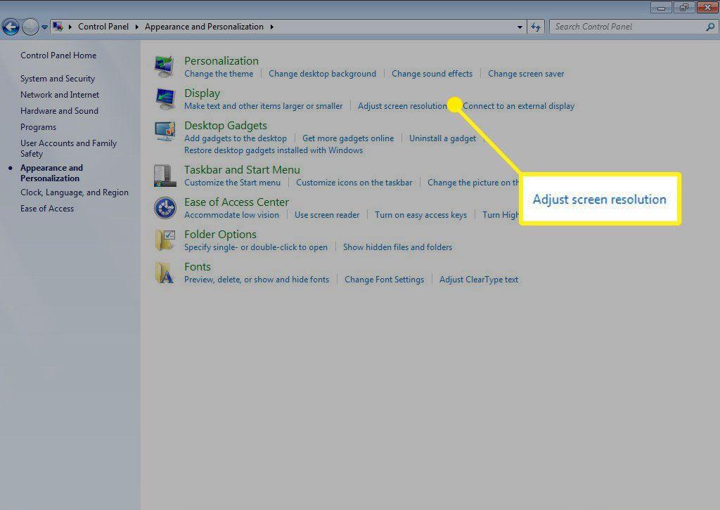 Adjust Screen Resolution option in Windows