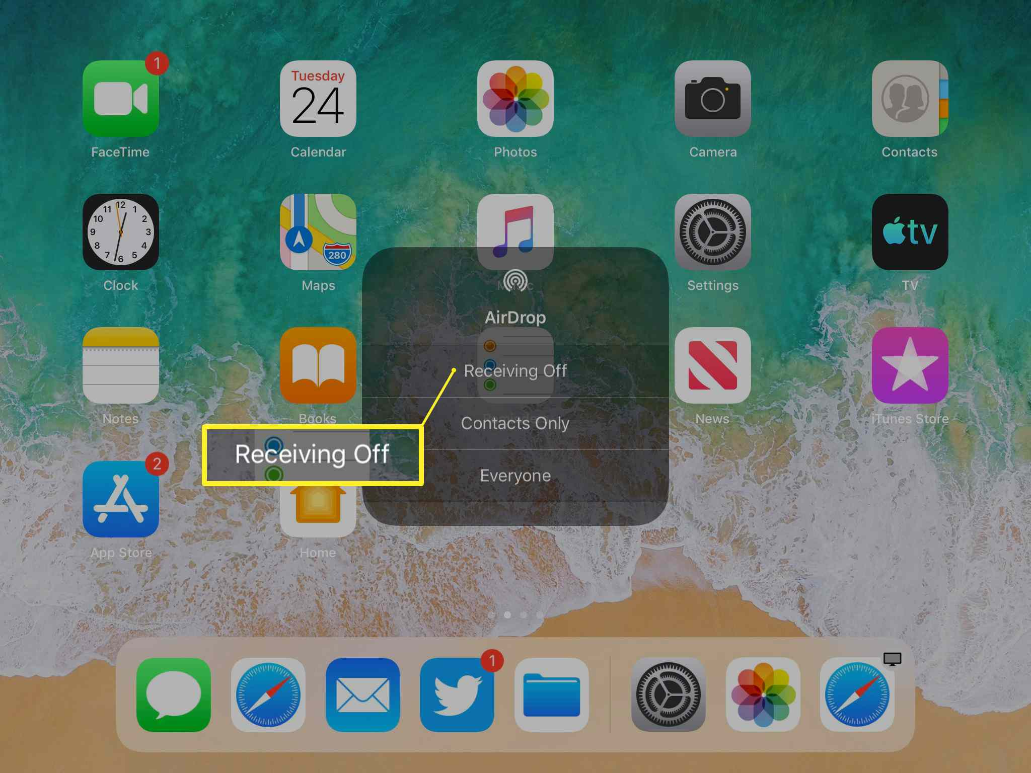 AirDrop pop-up screen
