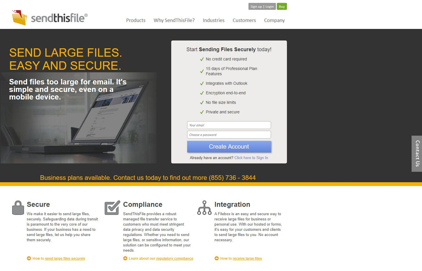 A screenshot of the SendThisFile website.